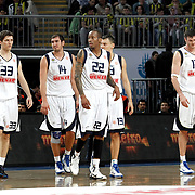 Fenerbahce Ulker's players (Left to Right) Marko TOMAS, Kaya PEKER, Tarence Anthony KINSEY, Sarunas JASIKEVICIUS, Darjus LAVRINOVIC during their Euroleague Basketball Top 16 Game 5 match Fenerbahce Ulker between Olympiacos at Sinan Erdem Arena in Istanbul, Turkey, Thursday, February 24, 2011. Photo by TURKPIX