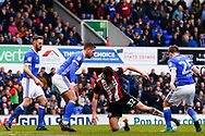 Sheffield United striker Ched Evans (32) battles for possession during the EFL Sky Bet Championship match between Ipswich Town and Sheffield United at Portman Road, Ipswich, England on 10 March 2018. Picture by Phil Chaplin.