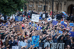 © Licensed to London News Pictures. 28/06/2016. London, UK. Thousands of anti-Brexit protesters gather in College Green opposite Parliament to protest against the result of the EU referendum last week. On Thursday 23 June, Britain voted to leave the European Union in a historic referendum. Photo credit: Rob Pinney/LNP