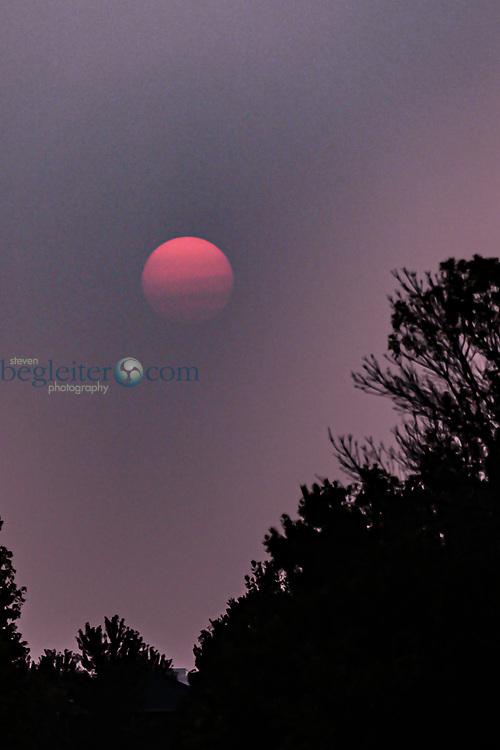 Sunset in the Smoke in Denver, Colorado, Fire Season