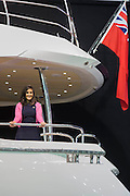 Mya Thanda on the interior of a Sunseeker 86. The CWM FX London Boat Show, taking place 09-18 January 2015 at the ExCel Centre, Docklands, London. 09 Jan 2015.