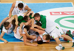 Players of Lithuania celebrate after the basketball match between National teams of Lithuania and France in final match of U20 Men European Championship Slovenia 2012, on July 22, 2012 in SRC Stozice, Ljubljana, Slovenia. Lithuania defeated France 50-49 and became European Champion 2012. (Photo by Vid Ponikvar / Sportida.com)
