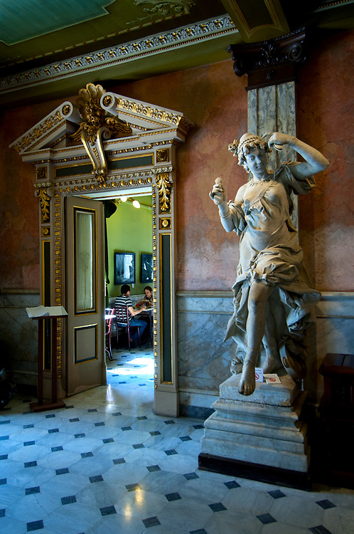 Costa Rica, San Jose, National Theater, Italian Marble Sculpture, Lobby, Cafe