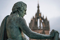 Detail of statue of David Hume at St Giles Cathedral on Royal Mile in Edinburgh, Scotland, UK
