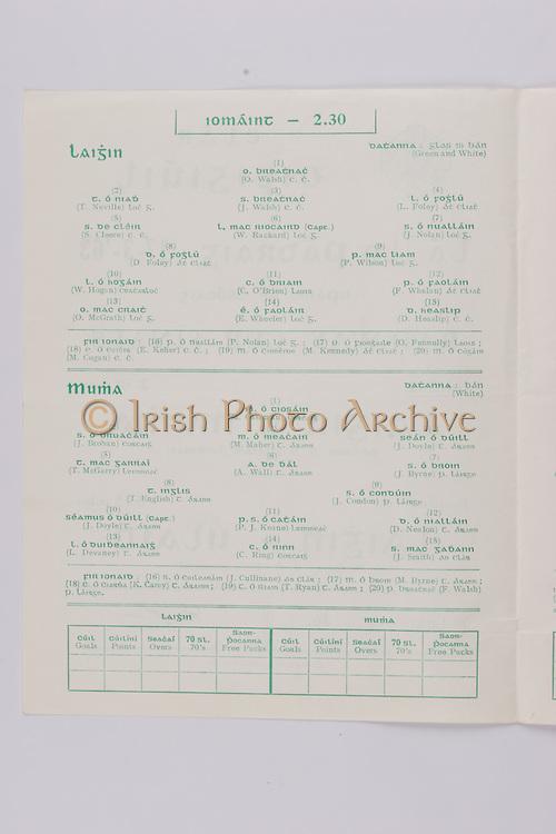 Interprovincial Railway Cup Football Cup Final,  17.03.1963, 03.17.1963, 17th March 1963, referee S O Ceirin , Leinster 1-09, Ulster 2-08, .Interprovincial Railway Cup Hurling Cup Final,  17.03.1963, 03.17.1963, 17th March 1963, referee S O Gliasam, Leinster 5-05, Munster 5-05, Hurling Team Leinster, O Walsh, T Neville, J Walsh, L Foley, S Cleere, W Rackard, J Nolan, D Foley, P Wilson, W Hogan, C O'Brien, F Whelan, O'McGrath, E Wheeler, D Heaslip, Hurling Team Munster, M Cashman, J Brohan, M Maher, J Doyle, T McGarry, A Wall,  J Byrne, T English, J Condon, J Doyle, P J Keane, D Nealon, L Devaney, C Ring, J Smith.