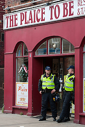 """""""The Plaice To Be"""" two Officers policing the end of the  EDL Rally in Rotherham Town Centre South Yorkshire on Saturday<br /> <br /> May 10 2014<br /> Image © Paul David Drabble <br /> www.pauldaviddrabble.co.uk"""