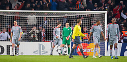 EINDHOVEN, THE NETHERLANDS - Tuesday, December 9, 2008: Liverpool's goalkeeper Diego Cavalieri looks dejected as PSV Eindhoven score the opening goal during the final UEFA Champions League Group D match at the Philips Stadium. (Photo by David Rawcliffe/Propaganda)