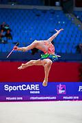 Agagulian Iasmina during qualifying at clubs in Pesaro World Cup at Adriatic Arena on April 14, 2018. Iasmina is an Armenian rhythmic gymnastics athlete born in Yerevan in 2001.