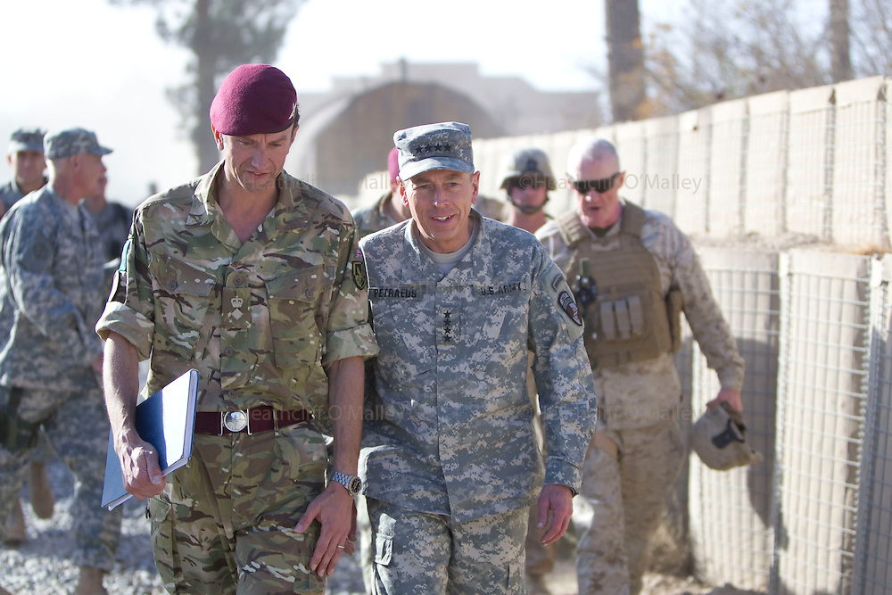 Mcc0027461 . Daily Telegraph..General David Petraeus  , Commanding General of ISAF ,walking with 3 Para Commander Lt Col James Coates during his visit to FOB Shahzad where the 3 Para Battlegroup are based in the northern Nad e Ali district of Helmand Province...Helmand 29 November 2010