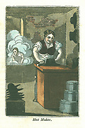 The Hatter.  In the foreground a hat is being shaped (blocked).  In the background the hats are being felted 'kettle'. Mercury was used during the manufacture and many hatters suffered from the uncontrollable shaking typical of mercury poisoning. Hand-coloured woodcut from 'The Book of English Trades', London, 1821.