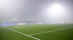 Tæt tåge under kampen i 1. Division mellem FC Helsingør og Fremad Amager den 27. november 2020 på Helsingør Stadion (Foto: Claus Birch).