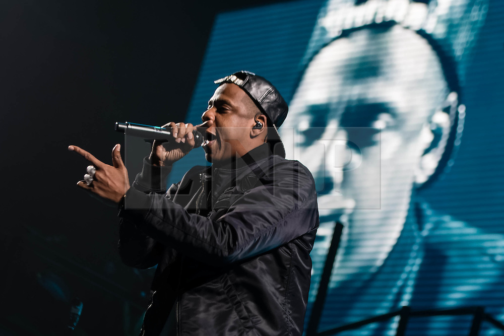 © Licensed to London News Pictures. 10/10/2013. London, UK.   Jay Z performing live at The O2 Arena as part of his Magna Carta World Tour for the first of three London dates.  Photo credit : Richard Isaac/LNP