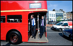 Leader of the Conservative Party David Cameron with Boris Johnson on a Routemaster bus on their way to visit Leadenhall Market, London, on St Georges day, Friday April 23, 2010. Photo By Andrew Parsons / i-Images.
