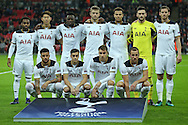 the Tottenham Hotspur players line up for a team photo before k/o. UEFA Champions league match, group E, Tottenham Hotspur v CSKA Moscow at Wembley Stadium in London on Wednesday 7th December 2016.<br /> pic by John Patrick Fletcher, Andrew Orchard sports photography.
