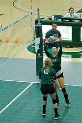26 August 2017:  Kira Jackson & Claire Bergman during the green-white scrimmage of the Illinois Wesleyan Titans in Shirk Center, Bloomington IL