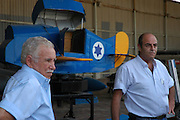 Israel, Hazirim, near Beer Sheva, Israeli Air Force museum. The national centre for Israel's aviation heritage Yaacov Turner (left) Museum founder and commander