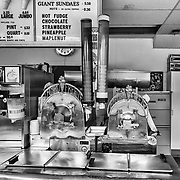 Where the magic happens inside of Carl's Ice Cream in Fredericksburg, Virginia with its vintage 1947 Electro-Freeze machines.