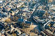 Nederland, Utrecht, Utrecht, 07-02-2018; Binnenstad Utrecht, Janskerkhof, Janskerk.<br /> City centre Utrecht.<br /> <br /> luchtfoto (toeslag op standard tarieven);<br /> aerial photo (additional fee required);<br /> copyright foto/photo Siebe Swart