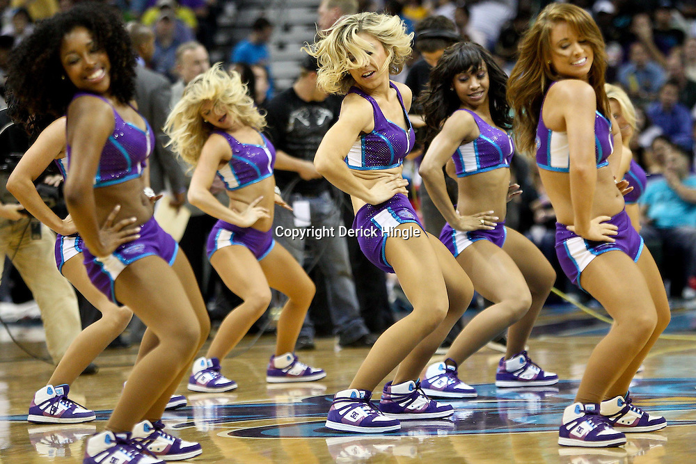 April 6, 2011; New Orleans, LA, USA; New Orleans Hornets Honeybees dancers perform during the second half of a game against the Houston Rockets at the New Orleans Arena.   Mandatory Credit: Derick E. Hingle-US PRESSWIRE