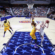 Katie Lou Samuelson, UConn, drives to the basket defended by Marina Laramie, East Carolina, during the UConn Huskies Vs East Carolina Pirates Quarter Final match at the  2016 American Athletic Conference Championships. Mohegan Sun Arena, Uncasville, Connecticut, USA. 5th March 2016. Photo Tim Clayton