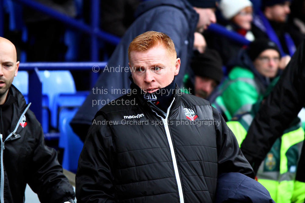 Bolton Wanderers Manager Neil Lennon looks on prior to Kick off. Skybet football league championship match, Bolton Wanderers v Ipswich Town at the Macron stadium in Bolton, Lancs on Saturday 13th December 2014.<br /> pic by Chris Stading, Andrew Orchard sports photography.