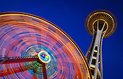 Seattle's Space Needle and Ferris Wheel