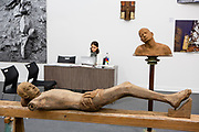 New York, NY - 5 May 2017. The opening day of the Frieze Art Fair, showcasing modern and contemporary art presented by galleries from around the world, on Randall's Island in New York City. Sculptures in wood and other materials by Benitha Perciyal in the Nature Morte Gallery from New Delhi.