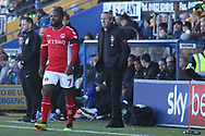 Charlton Athletic Manager Lee Bowyer and Mark Marshall of Charlton Athletic (7) during the The FA Cup match between Mansfield Town and Charlton Athletic at the One Call Stadium, Mansfield, England on 11 November 2018.