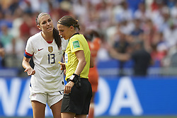 July 7, 2019 - Lyon, France - Alex Morgan (Orlando Pride) of United States  protest to referee during the 2019 FIFA Women's World Cup France Final match between The United State of America and The Netherlands at Stade de Lyon on July 7, 2019 in Lyon, France. (Credit Image: © Jose Breton/NurPhoto via ZUMA Press)