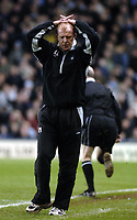 Photo. Glyn Thomas. <br /> Coventry City v Nottingham Forest. <br /> Coca Cola Championship. 06/04/2005.<br /> Forest manager Gary Megson can only hold his head in his hands as his side are two goals behind and nearing relegation.
