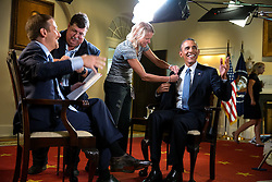 """President Barack Obama participates in an interview with Chuck Todd, new host of NBC's """"Meet The Press"""" in the Cabinet Room of the White House, Saturday, Sept. 6, 2014. (Official White House Photo by Pete Souza)<br /> <br /> This official White House photograph is being made available only for publication by news organizations and/or for personal use printing by the subject(s) of the photograph. The photograph may not be manipulated in any way and may not be used in commercial or political materials, advertisements, emails, products, promotions that in any way suggests approval or endorsement of the President, the First Family, or the White House."""
