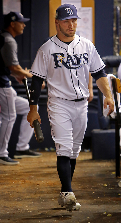 April 13, 2018 - St. Petersburg, Florida, U.S. - JIM DAMASKE   |   Times.Rays new player Johnny Field in the dugout during the Rays game against the Phillies at Tropicana Field Friday night 4/13/2018. He did not play. (Credit Image: © Jim Damaske/Tampa Bay Times via ZUMA Wire)
