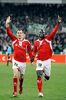 FOOTBALL - UEFA EUROPA LEAGUE 2009/2010 - 1/8 FINAL - 1ST LEG - PANATHINAIKOS v STANDARD DE LIEGE - 11/03/2010 - PHOTO JIMMY BOLCINA / PHOTONEWS / DPPI - JOY MILAN JOVANOVIC / ADAMA SARR (STA)