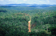DEFORESTATION PRIMARY RAINFOREST, , Amazon, near Boavista, northern Brazil, South America. A red sandy road cuts a path through Primary rainforest. It provides access for people, campesinos, logging and mass crop farming and agriculture. Ecological biosphere and fragile ecosystem where flora and fauna, and native lifestyles are threatened by progress and development. The rainforest is home to many plants and animals who are endangered or facing extinction. This region is home to indigenous primitive and tribal peoples including the Yanomami and Macuxi.
