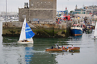 Rowing team in Dun Laoghaire harbour in Dublin Ireland