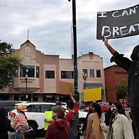 Protesters line Main Street at Watsonville's Main Plaza Sunday afternoon. (Shmuel Thaler — Santa Cruz Sentinel)