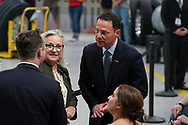 Pennsylvania congresswoman Susan Wild (PA-7), left, talks with Pennsylvania Attorney General Josh Shapiro, right, as attendees gather for an appearance by President Joe Biden on July 28, 2021, following a tour of Mack Trucks Lehigh Valley Operations in Lower Macungie Township, Pennsylvania. The presidential visit was made to highlight the importance of American manufacturing, buying products made in America, and supporting good-paying jobs for American workers. (Photo by Matt Smith)