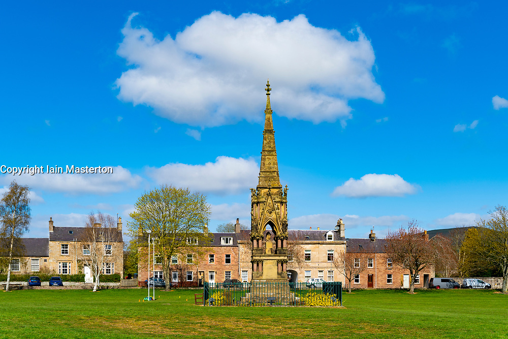 View of the Leyden's monument on the Green in village of Denholm in Scottish Borders, Scotland, UK