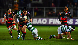 Dragons' Adam Warren is tackled by Newcastle Falcons' Ben Sowrey<br /> <br /> Photographer Craig Thomas/Replay Images<br /> <br /> EPCR Champions Cup Round 4 - Newport Gwent Dragons v Newcastle Falcons - Friday 15th December 2017 - Rodney Parade - Newport<br /> <br /> World Copyright © 2017 Replay Images. All rights reserved. info@replayimages.co.uk - www.replayimages.co.uk