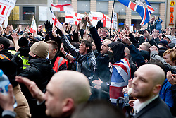 © under license to London News Pictures. 5/02/20011. Thousands of EDL (English Defence League) members and supporters march through the town centre of Luton today (05/02/2011) to protest agains sharia Law. Photo Credit Should Read:LNP
