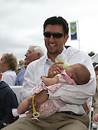 26 August 2006: Mia Hamm's husband, the Los Angeles Dodger's Nomar Garciaparra with their daugher Grace. The National Soccer Hall of Fame Induction Ceremony was held at the National Soccer Hall of Fame in Oneonta, New York.