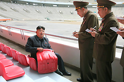 Undated photo from North Korean News Agency shows North Korean leader Kim Jong-un inspecting the May Day Stadium, in Pyongyang, North Korea. Photo released in June 2014. Photo by Balkis Press/ABACAPRESS.COM
