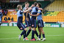 Scott Kashket of Wycombe Wanderers celebrates scoring to make it 1-1 - Mandatory by-line: Arron Gent/JMP - 24/10/2020 - FOOTBALL - Carrow Road - Norwich, England - Norwich City v Wycombe Wanderers - Sky Bet Championship