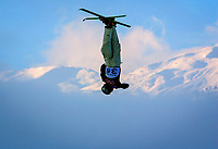 Sauze díOulx, Italy  -- Freestyle Aerials M-Qualifying  Russia's Evgeniy Brailovskiy during qualifying practice runs prior to starting of qualifying round of men's freestyle aerials at the 2006 Torino Winter Olympics. --  Photo by Jack Gruber, USA TODAY