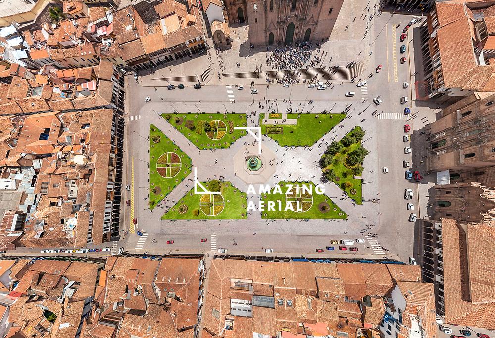 Aerial view of Cusco historical center, Peru