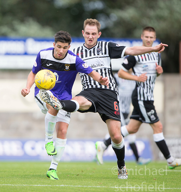 East Fife's Ryan Goodfellow and Elgin City's Mark Nicolson. <br /> East Fife 2 v 1 Elgin City, Ladbrokes Scottish Football League Division Two game played 22/8/2015 at East Fife's home ground, Bayview Stadium.