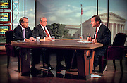 Former Senators Bob Dole and Howard Baker discusses the upcoming impeachment hearings against President Clinton during NBC's Meet the Press September 27, 1998 in Washington, DC.