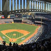 A panoramic view of a full Yankee Stadium during the New York Yankees Vs Toronto Blue Jays season opening day at Yankee Stadium, The Bronx, New York. 6th April 2015. Photo Tim Clayton