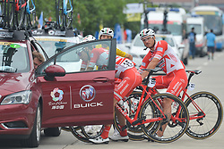 September 20, 2017 - Changde, China - Kevin Rivera Serrano and his team-mates of Androni Sidermec Bottecchia Team receive instruction from their Team Manager, Giampaolo Cheula, ahead of the start to the second stage of the 2017 Tour of China 2, the 97.6km Changde Lixiang Circuit Race. .On Wednesday, 20 September 2017, in Lixian County, Changde City, Hunan Province, China. (Credit Image: © Artur Widak/NurPhoto via ZUMA Press)