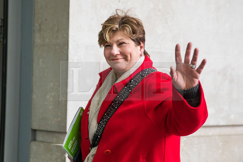 © Licensed to London News Pictures. 11/02/2018. London, UK. Shadow First Secretary of State Emily Thornberry outside BBC Broadcasting House. Photo credit: Rob Pinney/LNP